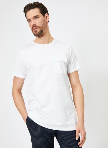 Koton Cep Detaylı T-Shirt Beyaz